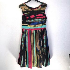 Ellen Tracy Striped Fit & Flare Sleeveless Dress